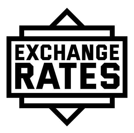 EXCHANGE RATES stamp on white background
