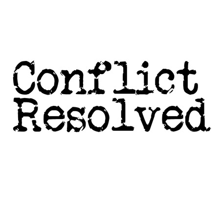 CONFLICT RESOLVED stamp on white background Illustration
