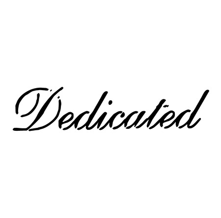 DEDICATED stamp on white background