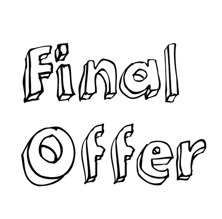 FINAL OFFER stamp on white background. Stickers labels and stamps series.