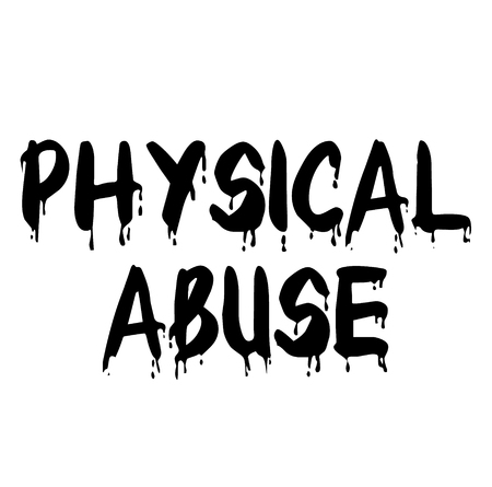 PHYSICAL ABUSE stamp on white background Stock Illustratie