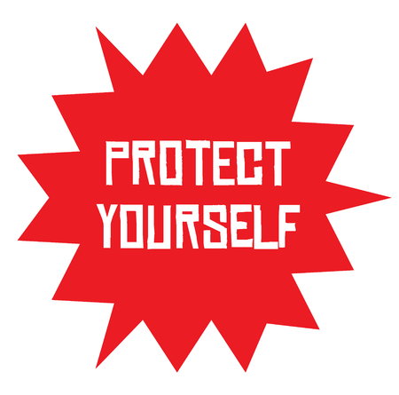 PROTECT YOURSELF stamp on white background