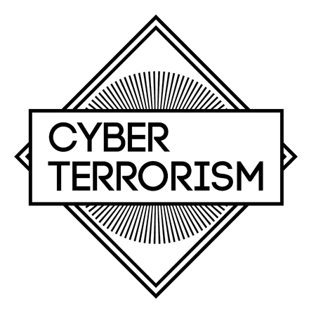 CYBER TERRORISM stamp on white background
