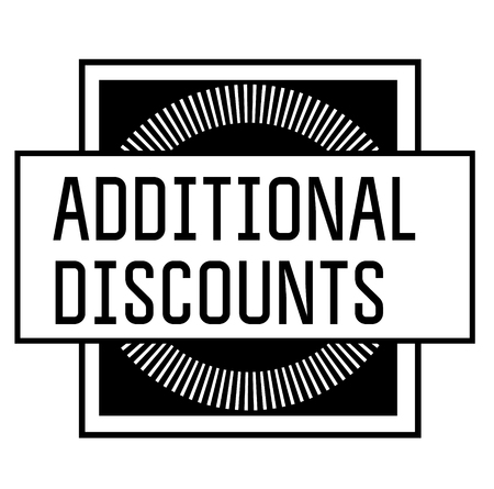ADDITIONAL DISCOUNTS stamp on white background
