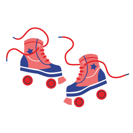 Rollerskate geometric illustration isolated on white. Children life and fun time series. Stock Illustratie