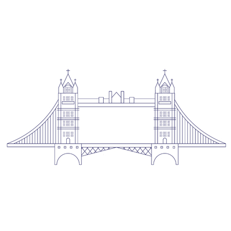 London bridge geometric illustration isolated on white. London city line art decoration series. Ilustrace