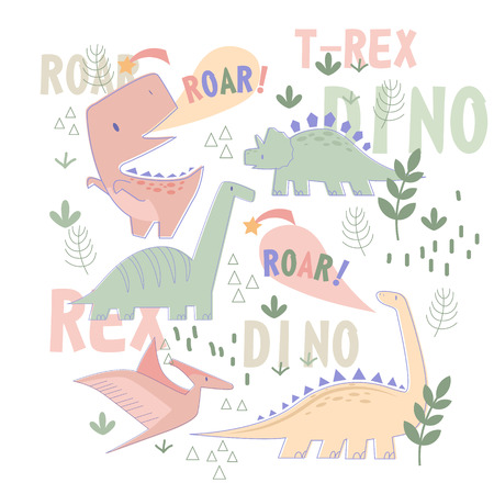 Dino pattern hand drawn illustration isolated on background