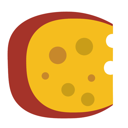 Piece of cheese geometric illustration isolated on background