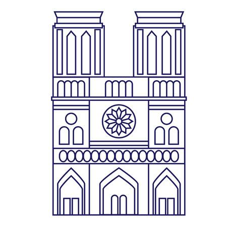 Notre Dame de Paris geometric illustration isolated on background