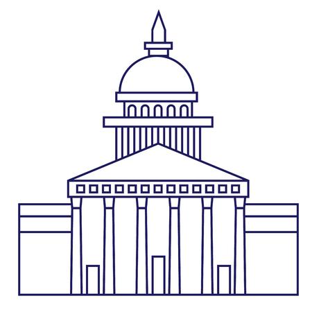 Illustration géométrique de la galerie nationale isolée sur fond