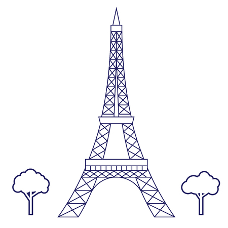 Eiffel tower geometric illustration isolated on background
