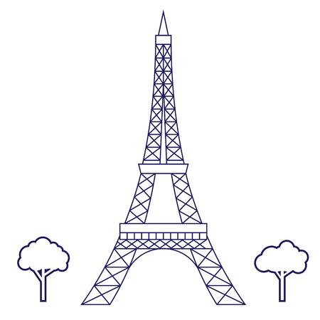 Illustrazione geometrica della torre Eiffel isolata su fondo Vettoriali