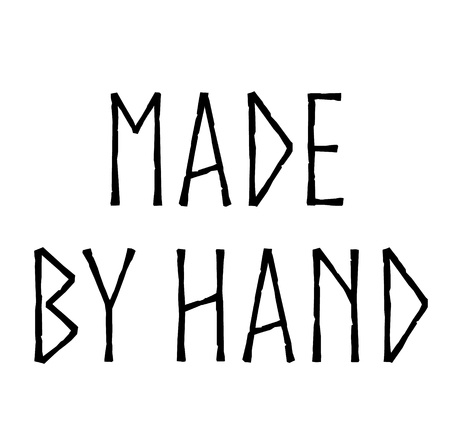 MADE BY HAND stamp on white background  イラスト・ベクター素材
