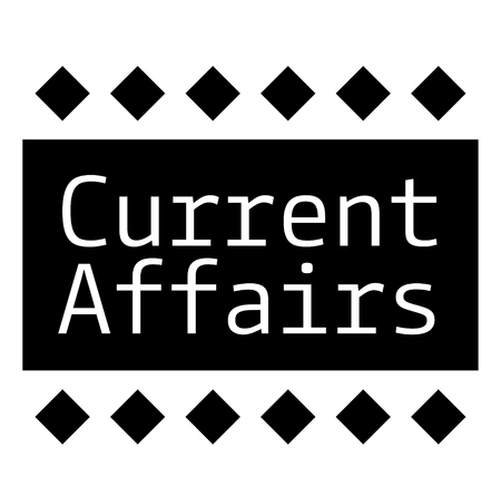 CURRENT AFFAIRS stamp on white background Çizim