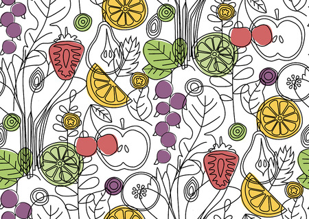 Kitchen pattern seamless hand drawn design