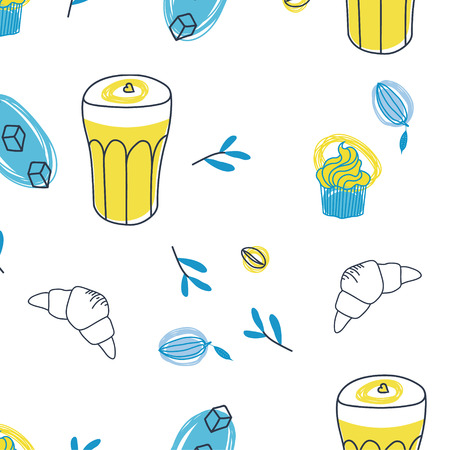 Coffee cupcake and croissant seamless pattern design