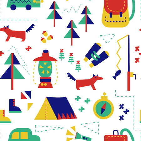 Hiking forest seamless pattern design for kids