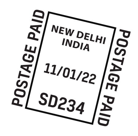 NEW DELHI, INDIA mail delivery stamp