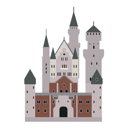 Castle flat illustration on white