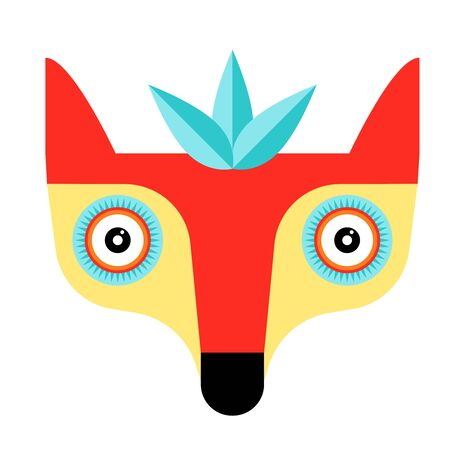 Fox flat illustration on white