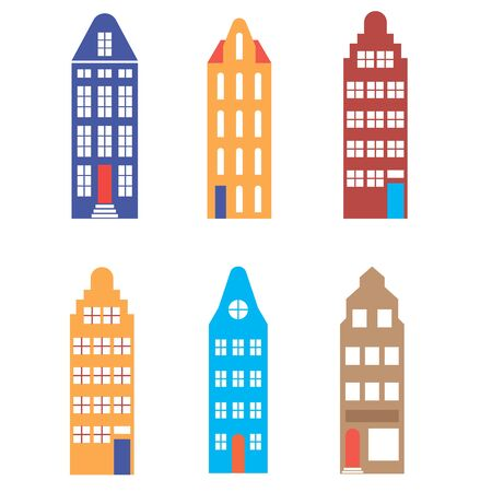 Building pattern flat illustration on white