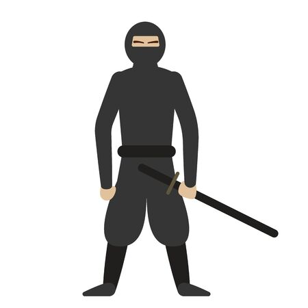 Ninja flat illustration on white