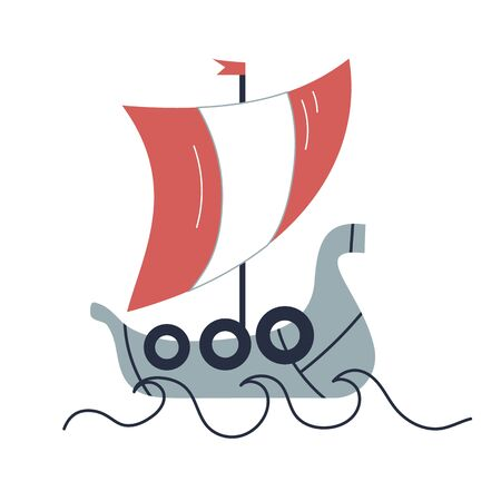Viking ship flat illustration on white Иллюстрация