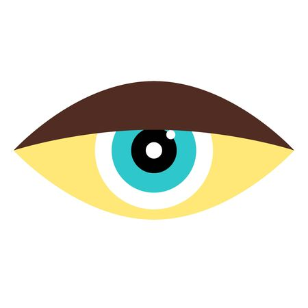 Blue eye flat illustration on white Иллюстрация
