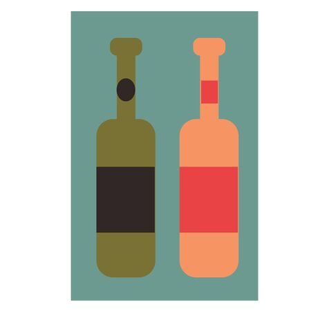 Bottles of wine flat illustration on white