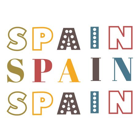 Word Spain flat illustration on white