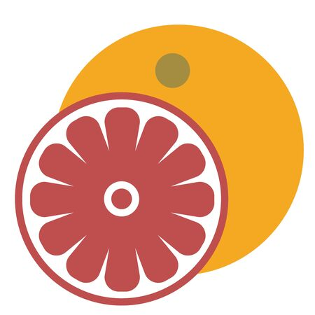 Grapefruit flat illustration on white Иллюстрация