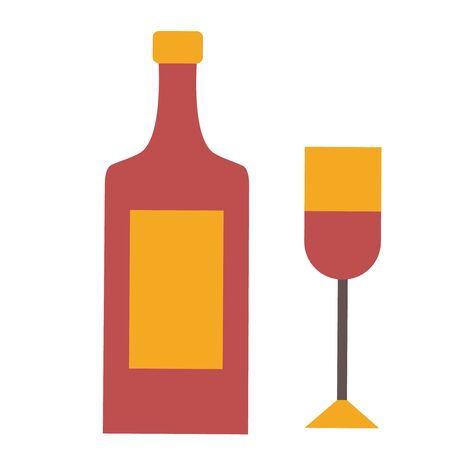 Bottle of wine flat illustration on white