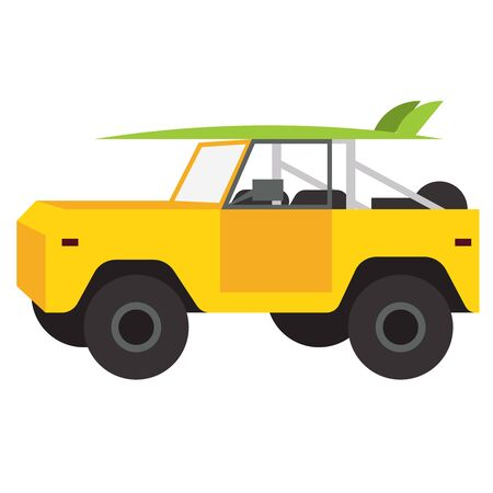 Yellow car flat illustration design Иллюстрация