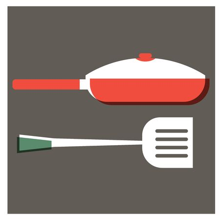 Frying pan and turner flat illustration design