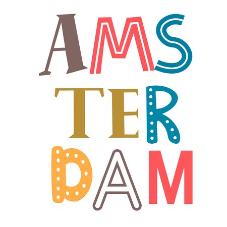 Word Amsterdam flat illustration on white