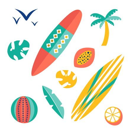 Beach pattern flat illustration design