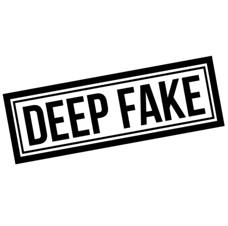 Deep fake black stamp on white background. Fake video created using modern technology to manipulate audience.