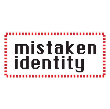 Timbre d'identité erronée sur fond blanc. Série d'étiquettes et de timbres.