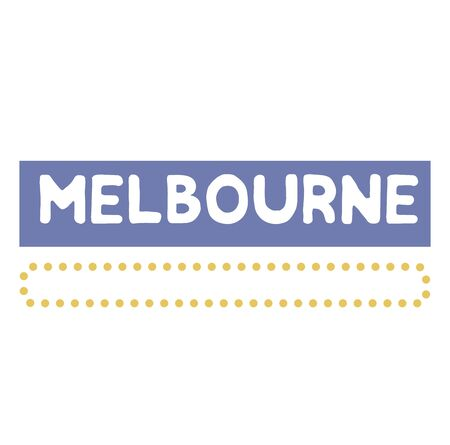 MELBOURNE stamp on white background. Labels and stamps series. Illustration