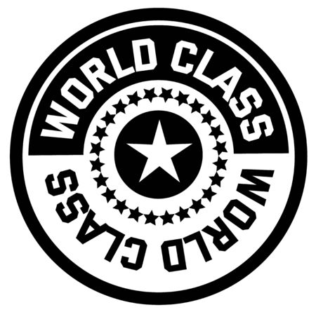 WORLD CLASS stamp on white background. Stickers and stamps series.