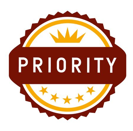TOP PRIORITY stamp on white background. Stickers and stamps series. Stock Illustratie