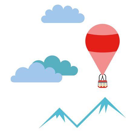 Hot air balloon simple illustration on white background. Fantasy world decorative series.