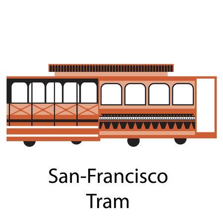 San Francisco Straßenbahn einfache Illustration auf weißem Hintergrund. Stadtleben und Reiseserie.
