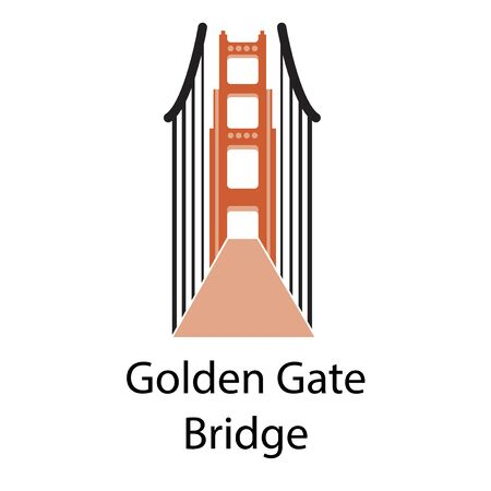 Golden gate bridge simple illustration on white background. City life and travel series. 写真素材 - 127860720