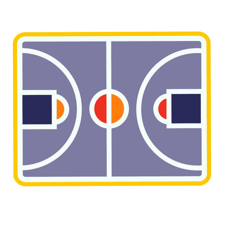 Basketball field simple illustration on white background. Sport games decorative series.