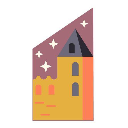 Medieval castle simple illustration on white background Illusztráció