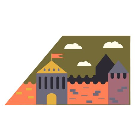 Medieval city simple illustration on white background