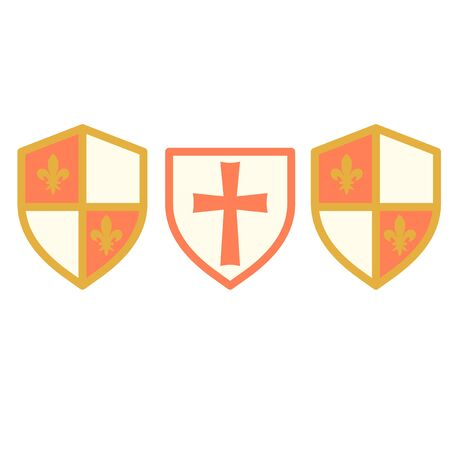 Red cross shield simple illustration on white background