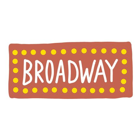 Broadway simple illustration on white background. City life and travel series.