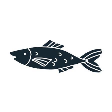 Black fish simple illustration on white background
